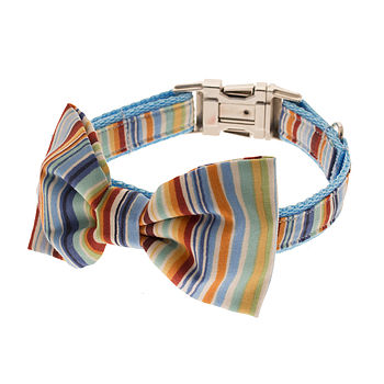 Summer Stripe Bow Tie Dog Collar