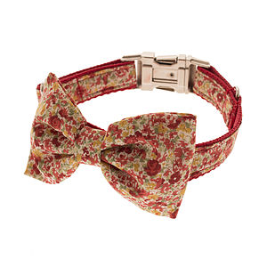 Vintage Garden Bow Tie Dog Collar