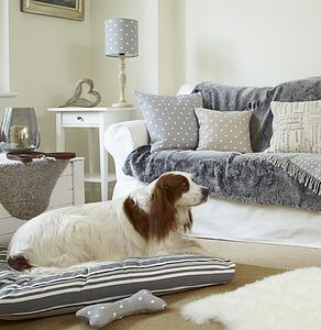 Kendal Grey Stripes Cushion Dog Bed - dogs