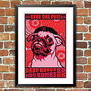 'Obey The Pug' Dog Print, For Pet Lovers