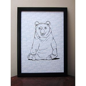 Mr Brown Bear Signed Print - contemporary art