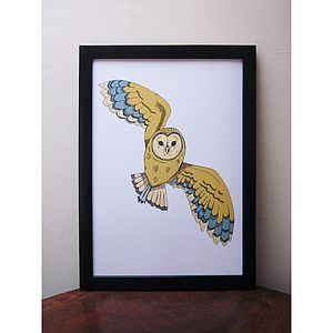 Swoop Owl Signed Print - contemporary art
