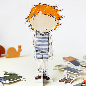 Dress Up Colin Paper Doll - pretend play & dressing up