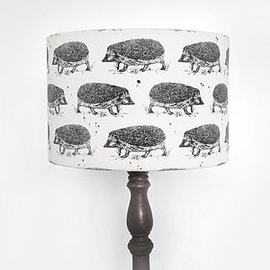 Hand Printed Hedgehog Lampshade