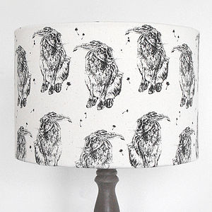Hand Printed Hare Lampshade - bedroom