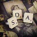 Vintage Letter Tile Personalised Ring
