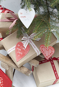 Wooden Heart Gift Tags Set Of Four - cards & wrap sale