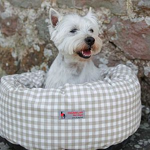 Donut Dog Bed Beige Gingham - dogs