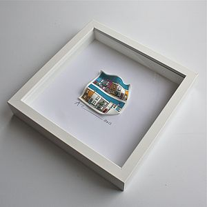 Coloured Houses 3D Framed Artwork - mixed media & collage