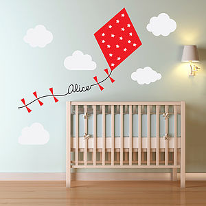 Personalised Kite And Clouds Wall Sticker - children's room