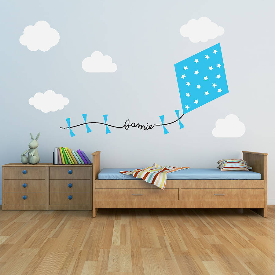 Perfect Blue Personalised Kite And Clouds Wall Sticker