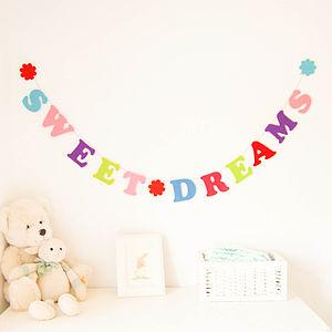 'Sweet Dreams' Felt Garland - children's room accessories