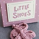 Knitted Blue Baby Shoes In Gift Box