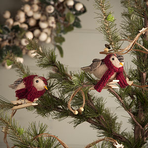 Tartan Bird Christmas Tree Decoration