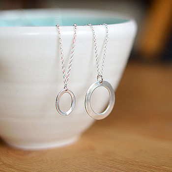 Silver Oval Necklaces - small and large