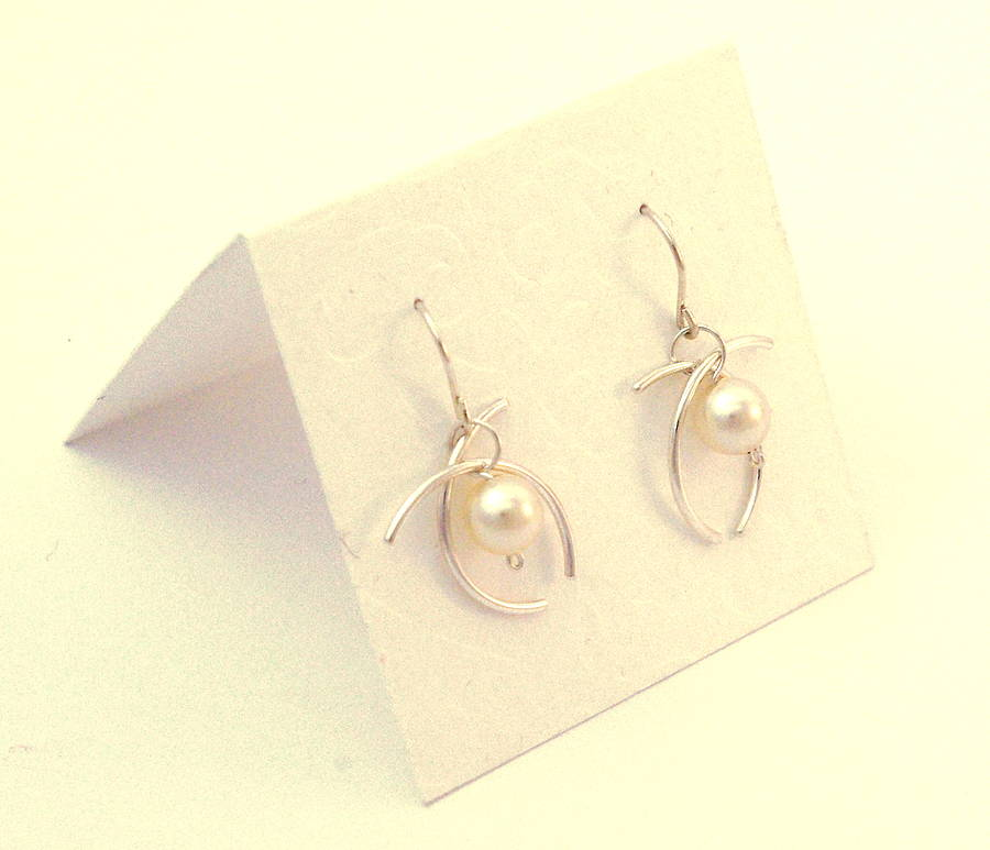 Sterling Silver Earrings Made With Swarovski Pearl