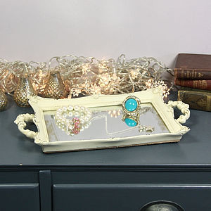 Vintage Style Small Cream Mirrored Tray - mirrors