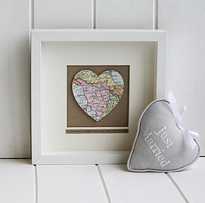 Personalised Single Heart Map Picture - bridesmaid gifts