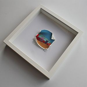 Beach Huts 3D Framed Picture - affordable art