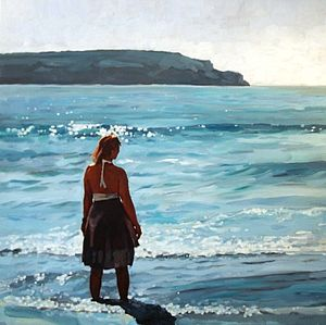 Beach Shore Summer Girl Print - contemporary art