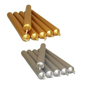 Non Drip Metallic Silver & Gold Candles - lights & candles