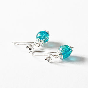Blue Glass Bead With Flower Hook Earrings - jewellery