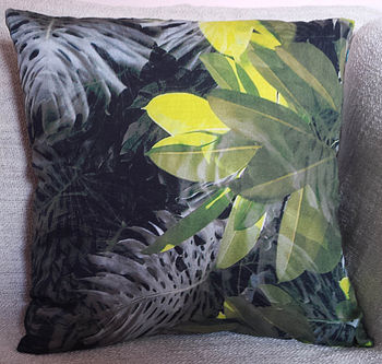 Leaves Silk Cotton Cushion Cover