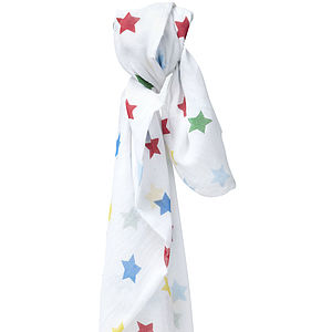 Rainbow Star Muslin Swaddle - blankets, comforters & throws