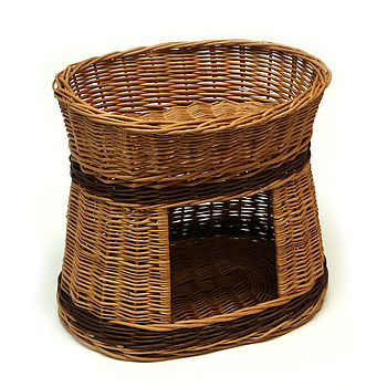 Two Tier Wicker Cat Bed House