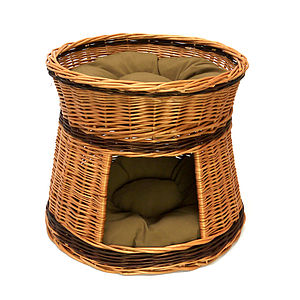 Two Tier Wicker Cat House With Cushions - cats