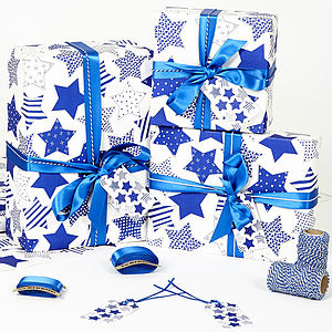 Recycled Blue Star White Wrapping Paper - ribbon & wrap