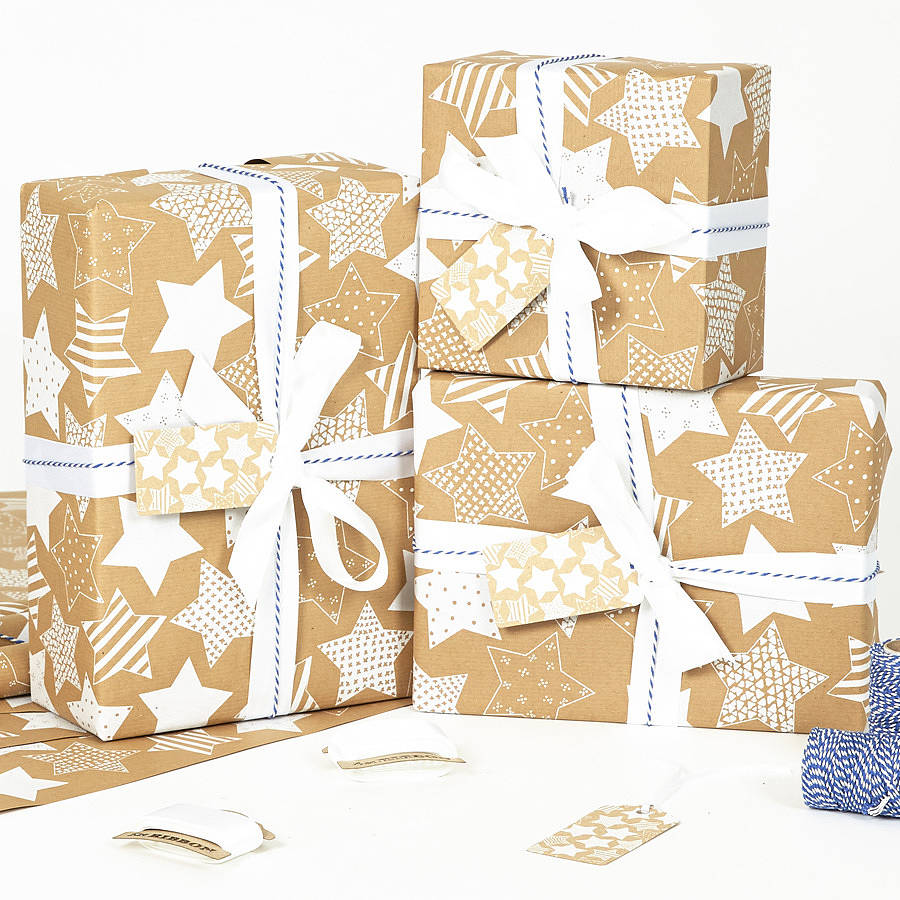 recycled white star brown wrapping paper by sophia. Black Bedroom Furniture Sets. Home Design Ideas