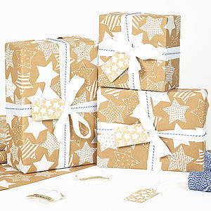Recycled White Star Brown Wrapping Paper - cards & wrap