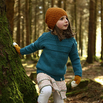 Girls Hand Knitted Teal Blue Merino Guernsey Jumper