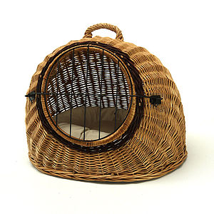 Igloo Wicker Pet Carrier With Cushion - sleeping