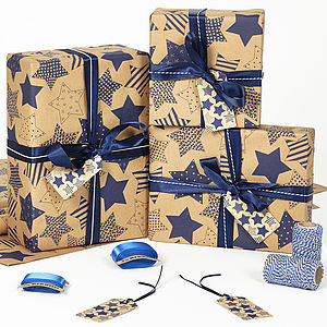 Recycled Blue Star Brown Wrapping Paper - ribbon & wrap