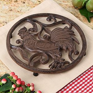 Cast Iron Rooster Trivet - kitchen accessories