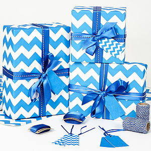 Recycled Blue Chevron Wrapping Paper - ribbon & wrap
