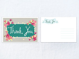 X 30 Honeysuckle And Blossom Thank You Cards