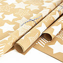 Recycled White Star Brown Wrapping Paper