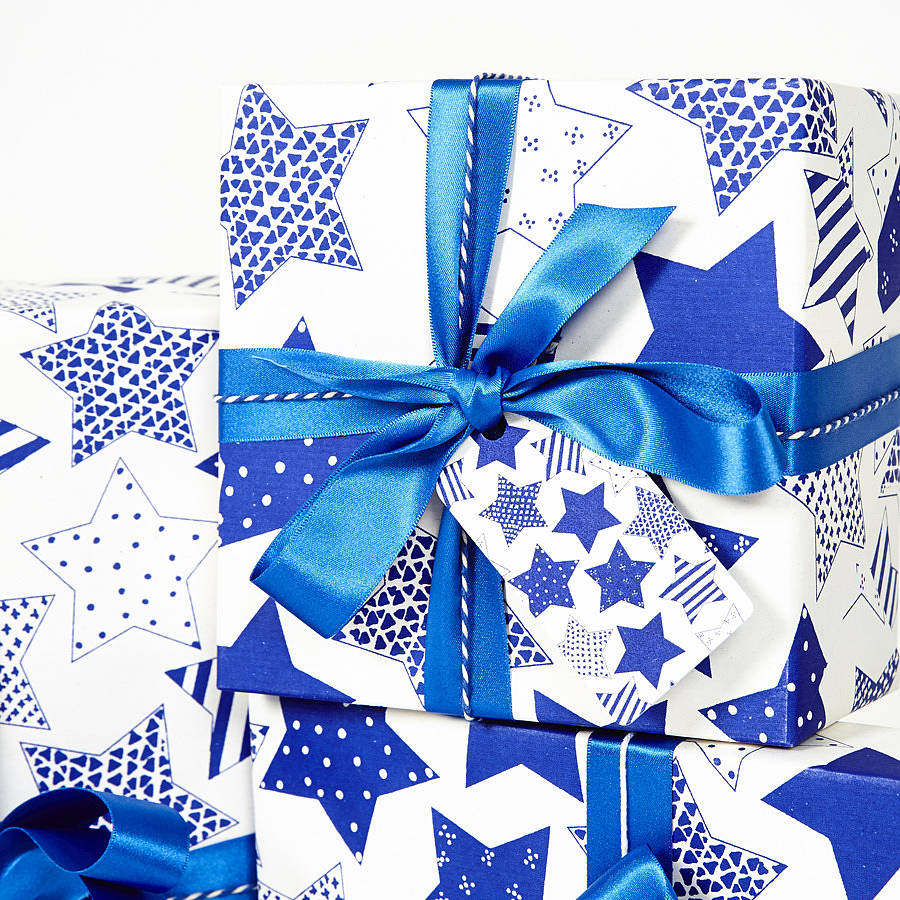 recycled blue star white wrapping paper by sophia victoria. Black Bedroom Furniture Sets. Home Design Ideas