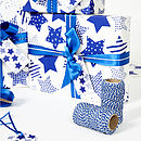 Recycled Blue Star White Wrapping Paper