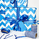 Recycled Blue Chevron Wrapping Paper