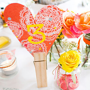 Coral Bohemian Number Decoration