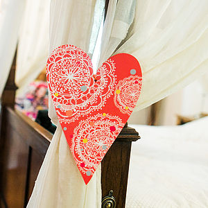 Coral Dotty Bohemian Heart Decoration