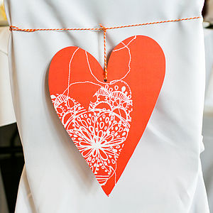Coral Stitch Bohemian Heart Decoration - table decorations