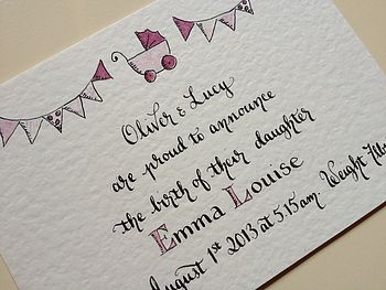 Eight Personalised Baby Announcement Cards