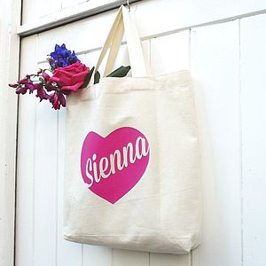 Girl's Personalised Heart Cotton Mini Tote