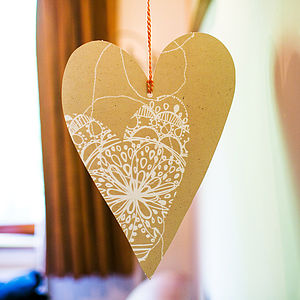 Manilla Stitch Bohemian Heart Decoration - room decorations