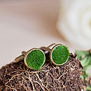 Bronze 'Lush' Green Grass Cufflinks